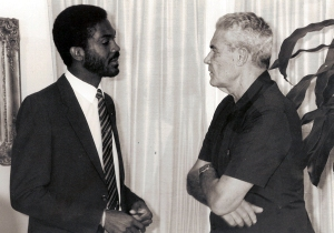 Sports Connoisseur Michael Manley with Jamaica and West Indian cricketer Michael Holding   © The Michael Manley Foundation