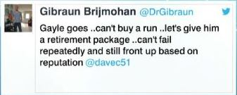 The retweet by WICB President, Dave Cameron