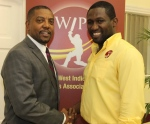 Dave Cameron (left), WICB President and Wavell Hinds, WIPA President in happier times