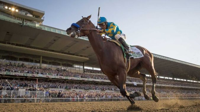 American Pharoah with Jockey Victor Espinoza onboard gallops to Triple Crown glory at the 2015 Belmont Stakes