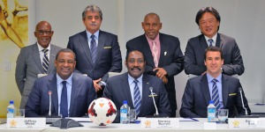 CONCACAF Jeffrey Webb (sitting left) and Eduardo Li (standing far right) have been named as co-defendants in the FIFA indictment