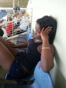 West Indian fan Natasha looks furlong after seeing her team capitulate at Sabina Park against the Australians in June 2015