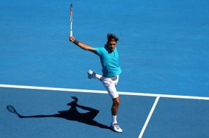 Though his wrecking ball forehand is cultist, Roger's backhand is sublimely majestic. (Even his shadow exudes grace)