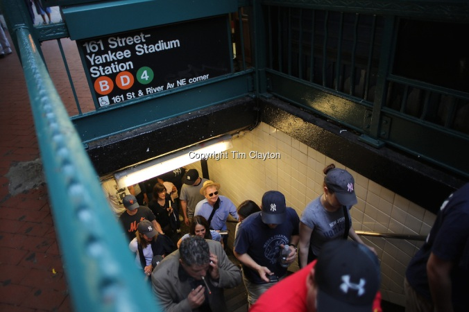 Fan's exiting the Subway Terminal for Yankees Stadium (copyright Tim Clayton)