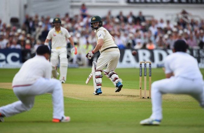 Chris Rogers looks back in horror after edging Stuart Broad to slip, England v Australia, 4th Investec Test, Trent Bridge, 1st day, August 6, 2015 ©Getty Images