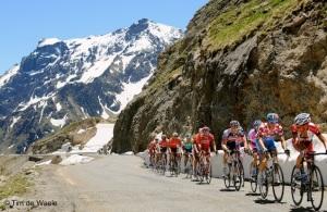 Cycling: 61th Criterium Dauphine Libere / Stage 7 Illustration Illustratie / Peleton Peloton / Col du GALIBIER / Mountains Montagnes Bergen / Pierrick FREDRIGO (Fra) Mountain Jersey / Jurgen VAN DEN BROECK (Bel) / David MONCOUTIE (Fra) / Landscape Paysage Landschap / Snow Neige Sneeuw / Briancon - Saint-Francois-Longchamp (157 Km) / / Rit Etape / (c) Tim De Waele