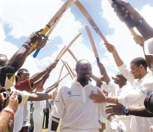 Brian Charles Lara, receives a guard of honour after becoming the first man to score 400 runs in an innings in Test cricket. A record he still has today.