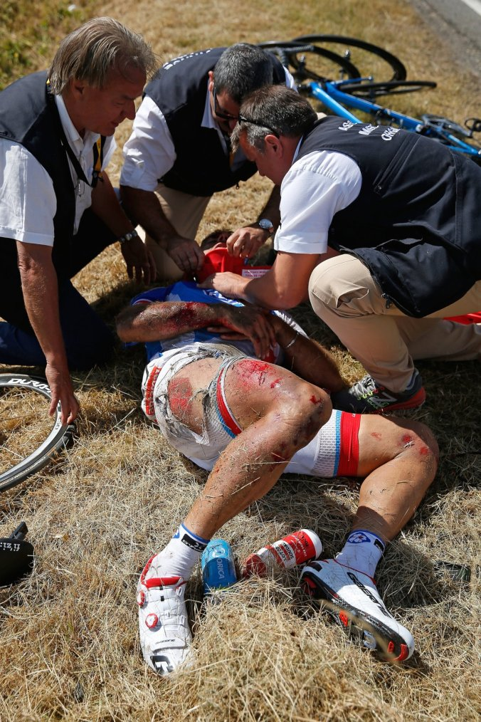 A major crash during the 2015 Tour caused race organizers to halt the race temporarily after many riders suffered broken bones, dislocated joints, broken bikes, road rash and an assortment of injuries. There weren't enough doctors to attend to the riders.