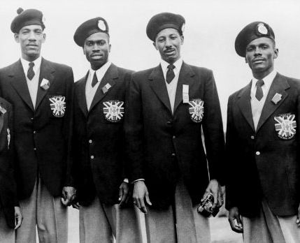 (L-R) Arthur Wint, George Rhoden, Herb McKenley, and Les Laing captured 4x400m gold in Helsinki in 1952.