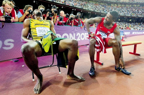 Usain Bolt takes a breather after his gold medal-winning run in the 200m at the recent World Championships in Beijing China.