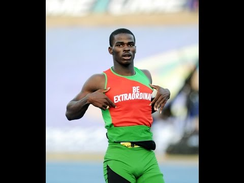 "Michael O'Hara reveals his ""Be Exraordinary"" vest which created a furore about ambush marketing at the ISSA Boys and Girls Championships by rival sponsors © Jamaica Gleaner"
