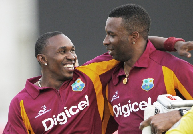 Dwayne Bravo (left) and Kieron Pollard © Jamaica Gleaner