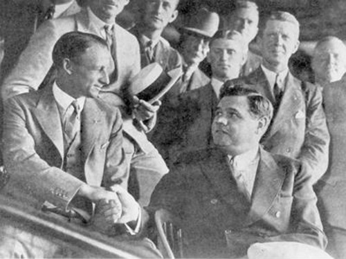 The Great Bambino, Babe Ruth invites The Don, Sir Donald Bradman to his personal box in the Yankees Stadium.