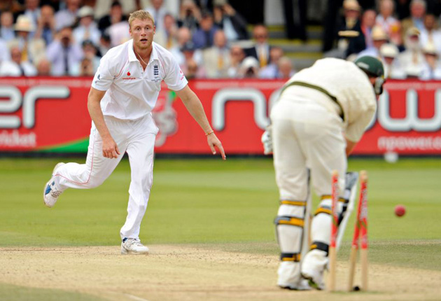 Andrew Flintoff Bowls Peter Siddle
