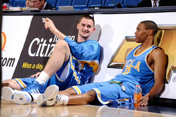 UCLA Bruins' star duo Russell Westbrook (right) and Kevin Love at Arizona, March 2008 (Photo: John W. McDonough/SI)