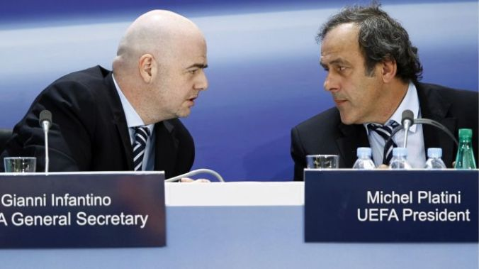 UEFA's Michel Platini (right) and Gianni Infantino - Reuters
