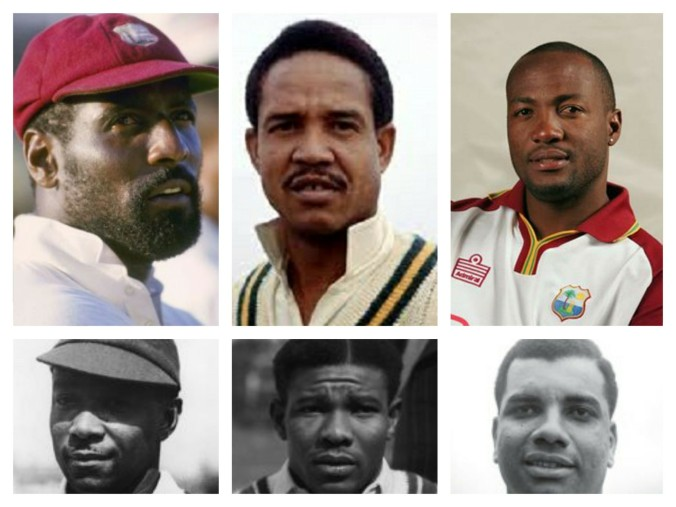 Top: Sir Viv Richards, Sir Garfield Sobers, The Honorable Brian Lara Bottom: George Headley, Sir Everton Weekes, Sir Clyde Walcott