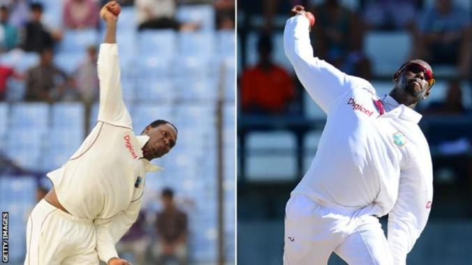 West Indians Marlon Samuels and Shane Shillingford have been reported for suspect bowling actions more than once. Shillingford was the last man to get Sachin Tendulkar's wicket in international cricket.