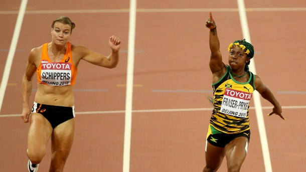 Shelly-Ann Fraser-Pryce retains her 100m title at the 15th IAAF World Championships