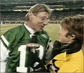 "Joe Namath tells Suzy Kolber during a sideline interview, ""I want to kiss you""."