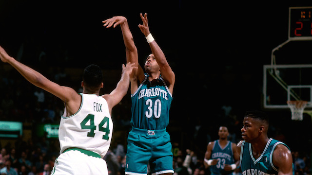 BOSTON, MA - 1993: Dell Curry #30 of the Charlotte Hornets shoots against Rick Fox #44 of the Boston Celtics during a game played at the Boston Garden in Boston, Massachusetts circa 1993. NOTE TO USER: User expressly acknowledges and agrees that, by downloading and or using this photograph, User is consenting to the terms and conditions of the Getty Images License Agreement. Mandatory Copyright Notice: Copyright 1993 NBAE (Photo by Dick Raphael/NBAE via Getty Images)