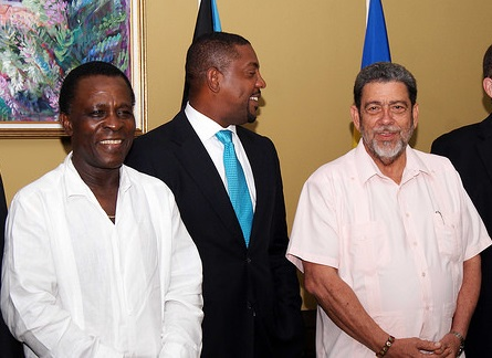 Grenada's Prime Minister Dr. Keith Mitchell (left) and St Vincent and the Grenadines Prime Minister Dr. Ralph Gonsalves (right) are among those who have called for the dissolution of the WICB and/or for WICB President Dave Cameron (centre) to step down.