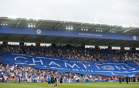 Leicester fans unveil a banner saying 'Champions' before the match Action Images via Reuters / Carl Recine