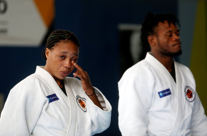 Yolande Bukasa Mabika, also from the Democratic Republic of Congo, was tearful as she and Misenga were named to the team. (Photo credit: Pilar Olivares/Reuters)