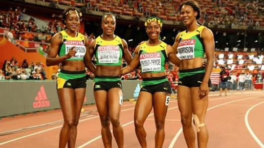 Jamaica's victorious women's 4x1 relay team, from lest: Elaine Thompson, Veronica Campbell Brown, Shelly-Ann Fraser Pryce, Natasha Morrison - IAAF photo