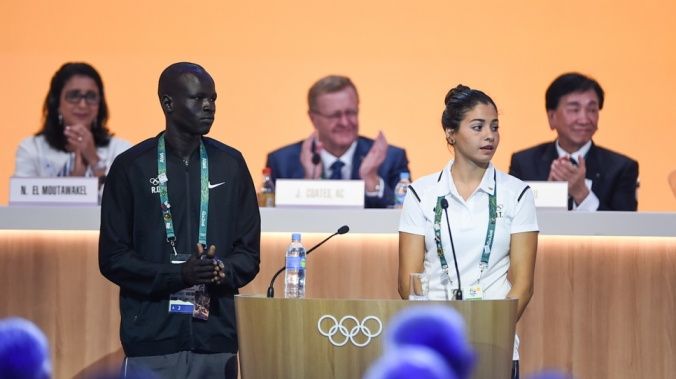 Yusra Mardini and Yiech Pur Biel each gave speeches on behalf of the Refugee Olympic Team to a meeting of all IOC members in Rio. © UNHCR/Benjamin Loyseau