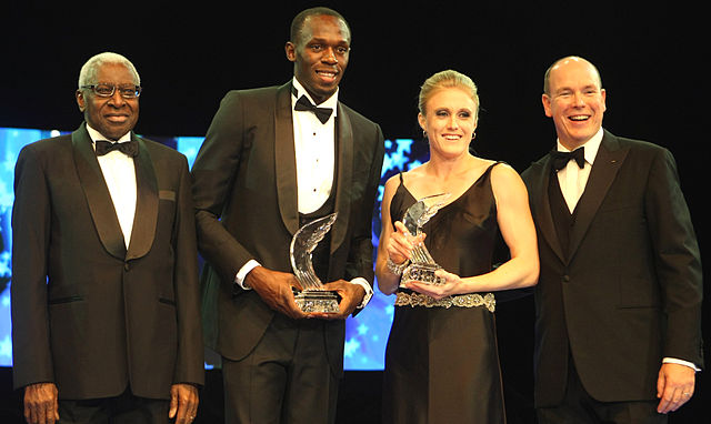 2011 IAAF Female Athlete of the Year and reigning Olympic Champion in the 110 metres hurdles , Sally Pearson (second right) suffered a major injury two months before the Rio Games. (Photo credit: Mohan/Doha Stadium Plus Qatar)