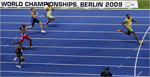Usain Bolt destroys the field during the 200 metres final at the 2009 Berlin World Championships, setting a new world record of 19.19 seconds.