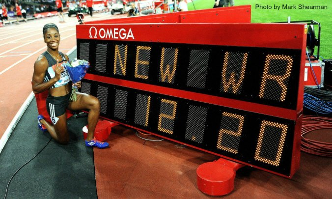 "Kendra ""Keni"" Harrison breaks the world record in the 100 metres hurdles on July 22, 2016. She won't be in Rio. (Photo credit: Mark Shearman)"