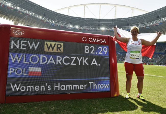 Anita Wlodarczyk of Poland celebrates after winning the women's Hammer Throw final in a new World Record of 82.29m (Photo credit: EPA/Franck Robichon)