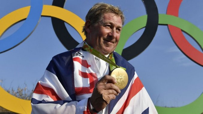 Nick Skelton celebrates after receiving his gold medal (Photo credit: Unknown)