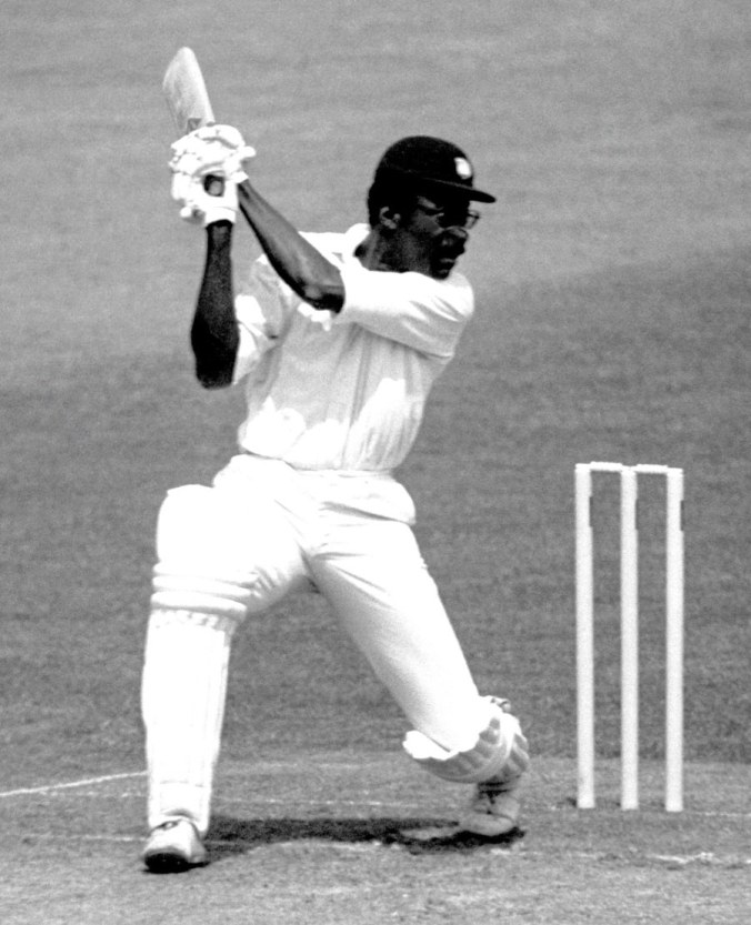 Clive Lloyd carves the ball through the off side during his century knock against Australia in the 1975 World Cup final. Lloyd had to usher the fans off the field during his hundred. ©PA Photos