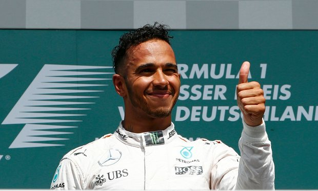 Lewis Hamilton extended his championship lead to 19 points heading into the summer break with a dominant victory in Germany, as team mate Nico Rosberg was beaten into fourth place by the Red Bulls of Daniel Ricciardo and Max Verstappen. Photograph: Ralph Orlowski/Reuters