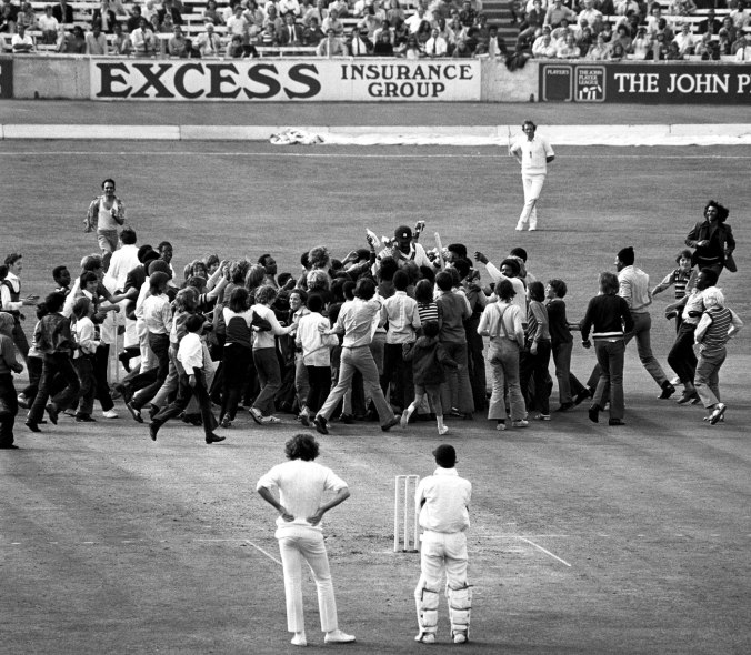 Spectators swarm Clive Lloyd to celebrate his century against, England during first Test at The Oval on the 1st day, June 26, 1973. Lloyd scored a scintillating 132 after West Indies lost three early wickets. ©PA Photos