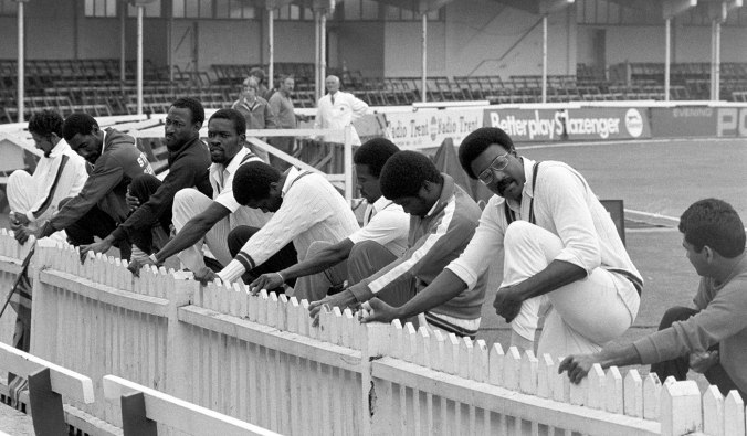 Clive Lloyd (second from right) and the West Indies team warm up, England v West Indies, 1st Test, Trent Bridge, 5th day, June 10, 1980 ©PA Photos