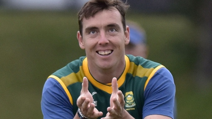 Kyle Abbott of South Africa takes a catch during a training session ahead of the 2015 Cricket World Cup Pool B match against UAE at the Basin Reserve in Wellington on March 11, 2015. AFP PHOTO / MARTY MELVILLE (Photo credit should read Marty Melville/AFP/Getty Images)