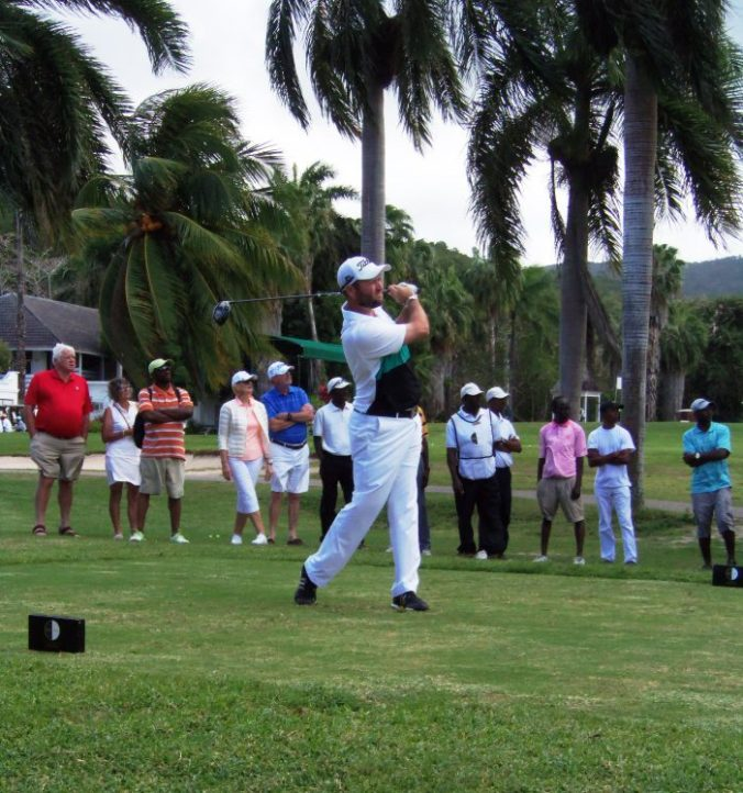 Eventual joint-third place finisher, Kenny Goodykoontz tees off at hole number one in the final round of the Jamaica Open golf tournament held at the Half Moon Golf Course on Saturday January 14, 2017. (Photo: Zaheer E. Clarke)
