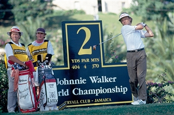 Bernhard Langer of Germany tracking his tee shot during the Johnnie Walker World Golf Championship held at the Tryall Golf Club, Jamaica, circa December 1993. (Photo by Phil Sheldon/Popperfoto/Getty Images)