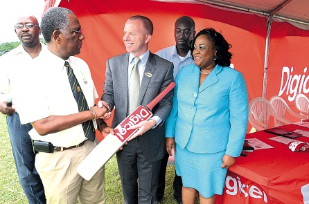 Digicel's Marketing Director, Conor Looney shook hands with then-JCA President, Lyndel Wright at the launch of the WICB/JCA/Digicel Grassroots Cricket programme in 2012. Also pictured are Philip Service, Territorial Development Officer and Natalie Neita-Headley, then-Minister with Responsibility for Sports in the Office of the Prime Minister.